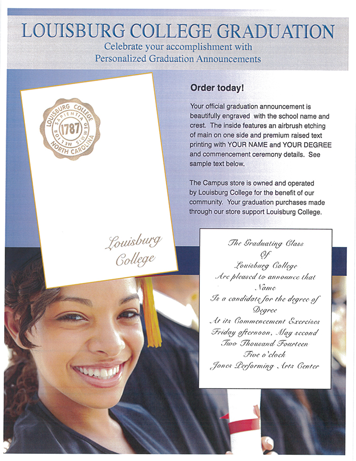 A flyer showing Louisburg College announcement examples