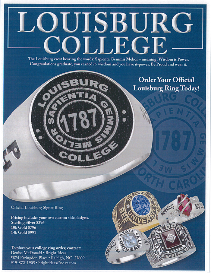 A flyer showing Louisburg College rings