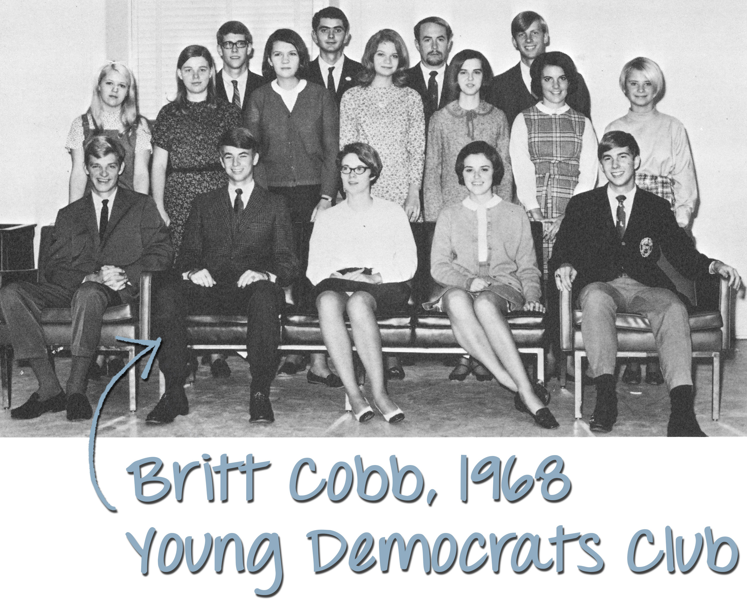 old yearbook photo of students sitting and posing for camera